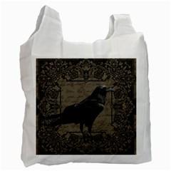 Vintage Halloween Raven Recycle Bag (one Side)