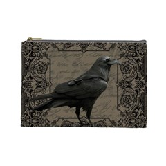 Vintage Halloween Raven Cosmetic Bag (large)
