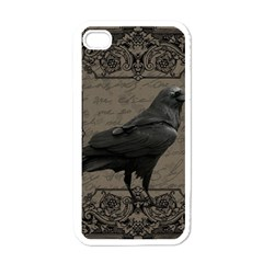 Vintage Halloween Raven Apple Iphone 4 Case (white)