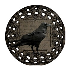 Vintage Halloween Raven Round Filigree Ornament (two Sides)