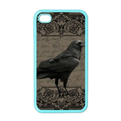 Vintage Halloween Raven Apple Iphone 4 Case (color)