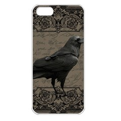 Vintage Halloween Raven Apple Iphone 5 Seamless Case (white)