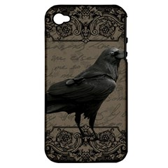 Vintage Halloween Raven Apple Iphone 4/4s Hardshell Case (pc+silicone)