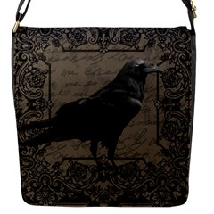 Vintage Halloween Raven Flap Messenger Bag (s)