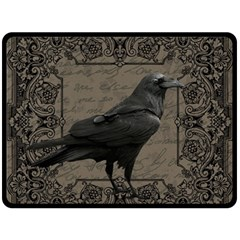 Vintage Halloween Raven Double Sided Fleece Blanket (large)