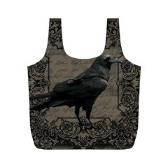 Vintage Halloween Raven Full Print Recycle Bags (m)