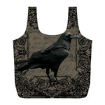 Vintage Halloween raven Full Print Recycle Bags (L)  Back