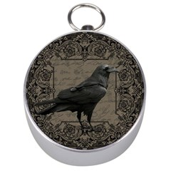 Vintage Halloween Raven Silver Compasses