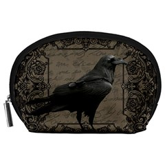 Vintage Halloween Raven Accessory Pouches (large)