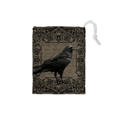 Vintage Halloween Raven Drawstring Pouches (small)