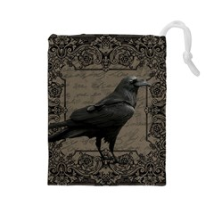 Vintage Halloween Raven Drawstring Pouches (large)