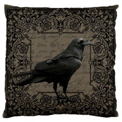 Vintage Halloween Raven Large Flano Cushion Case (two Sides)
