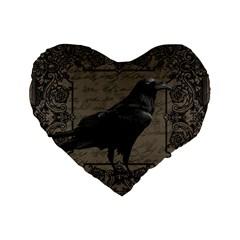 Vintage Halloween Raven Standard 16  Premium Flano Heart Shape Cushions