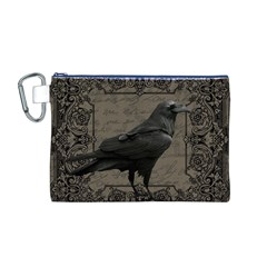 Vintage Halloween Raven Canvas Cosmetic Bag (m)