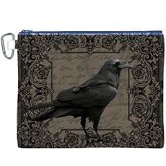 Vintage Halloween Raven Canvas Cosmetic Bag (xxxl)