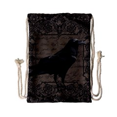 Vintage Halloween Raven Drawstring Bag (small)