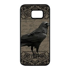 Vintage Halloween Raven Samsung Galaxy S7 Edge Black Seamless Case
