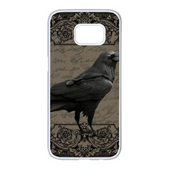 Vintage Halloween Raven Samsung Galaxy S7 Edge White Seamless Case