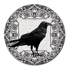 Vintage Halloween Raven Round Mousepads