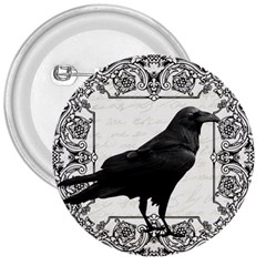 Vintage Halloween Raven 3  Buttons