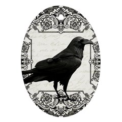 Vintage Halloween Raven Ornament (oval)