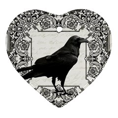 Vintage Halloween Raven Ornament (heart)