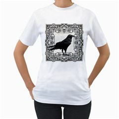 Vintage Halloween Raven Women s T Shirt (white) (two Sided)