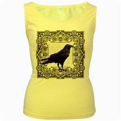 Vintage Halloween Raven Women s Yellow Tank Top