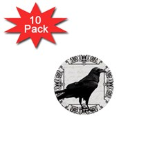 Vintage Halloween Raven 1  Mini Buttons (10 Pack)