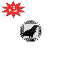 Vintage Halloween Raven 1  Mini Magnet (10 Pack)