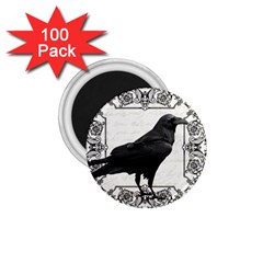 Vintage Halloween Raven 1 75  Magnets (100 Pack)