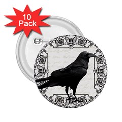 Vintage Halloween Raven 2 25  Buttons (10 Pack)