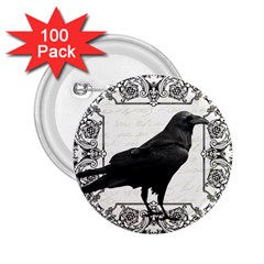 Vintage Halloween Raven 2 25  Buttons (100 Pack)