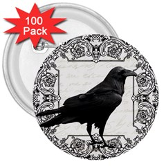 Vintage Halloween Raven 3  Buttons (100 Pack)