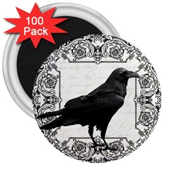 Vintage Halloween Raven 3  Magnets (100 Pack)