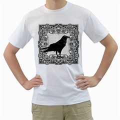 Vintage Halloween Raven Men s T Shirt (white) (two Sided)