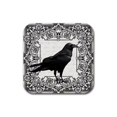 Vintage Halloween Raven Rubber Square Coaster (4 Pack)