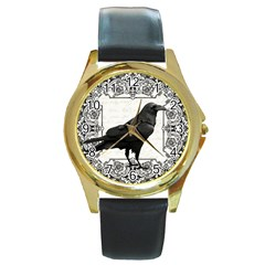Vintage Halloween Raven Round Gold Metal Watch
