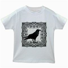 Vintage Halloween Raven Kids White T Shirts