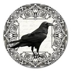 Vintage Halloween Raven Magnet 5  (round)