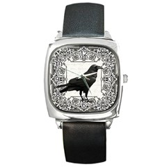 Vintage Halloween Raven Square Metal Watch