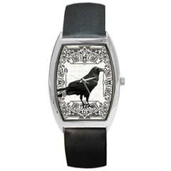 Vintage Halloween Raven Barrel Style Metal Watch