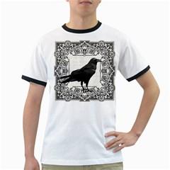 Vintage Halloween Raven Ringer T Shirts