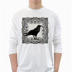 Vintage Halloween Raven White Long Sleeve T Shirts