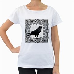 Vintage Halloween Raven Women s Loose Fit T Shirt (white)