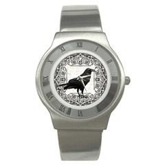 Vintage Halloween Raven Stainless Steel Watch