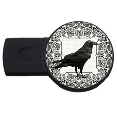 Vintage Halloween Raven Usb Flash Drive Round (4 Gb)