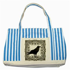 Vintage Halloween Raven Striped Blue Tote Bag