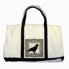 Vintage Halloween Raven Two Tone Tote Bag