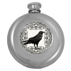 Vintage Halloween Raven Round Hip Flask (5 Oz)